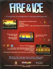 Box back cover for Fire and Ice on the Atari ST.