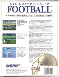 Box back cover for GFL Championship Football on the Atari ST.