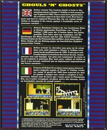 Box back cover for Ghouls'n Ghosts on the Atari ST.