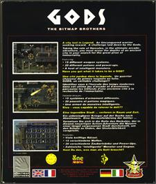 Box back cover for Gods on the Atari ST.