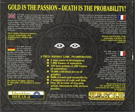 Box back cover for Gold of the Aztecs on the Atari ST.
