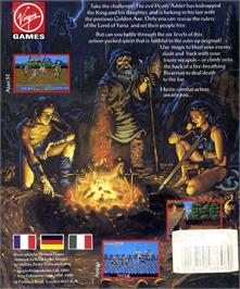 Box back cover for Golden Axe on the Atari ST.