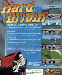 Box back cover for Hard Drivin' on the Atari ST.