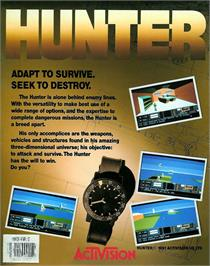 Box back cover for Hunter on the Atari ST.
