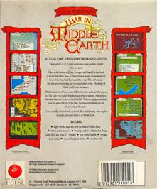 Box back cover for J.R.R. Tolkien's War in Middle Earth on the Atari ST.
