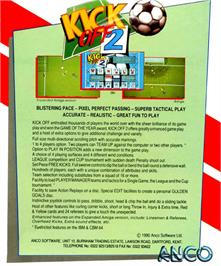 Box back cover for Kick Off 2 on the Atari ST.