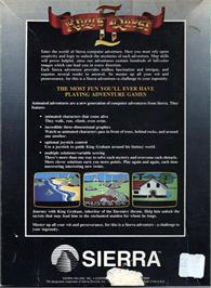 Box back cover for King's Quest II: Romancing the Throne on the Atari ST.