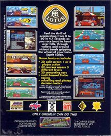 Box back cover for Lotus Esprit Turbo Challenge on the Atari ST.