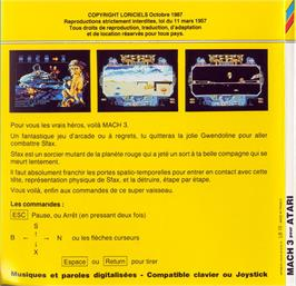 Box back cover for Mach 3 on the Atari ST.