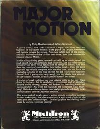 Box back cover for Major Motion on the Atari ST.