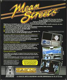 Box back cover for Mean Streets on the Atari ST.