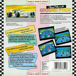 Box back cover for Nigel Mansell's Grand Prix on the Atari ST.