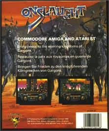 Box back cover for Onslaught on the Atari ST.