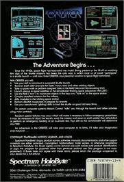 Box back cover for Orbiter on the Atari ST.