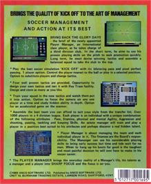 Box back cover for Player Manager on the Atari ST.