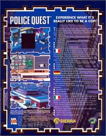 Box back cover for Police Quest: In Pursuit of the Death Angel on the Atari ST.