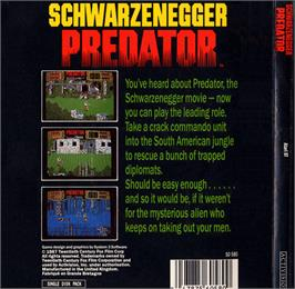Box back cover for Predator on the Atari ST.