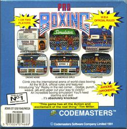 Box back cover for Pro Boxing Simulator on the Atari ST.