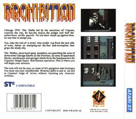 Box back cover for Prohibition on the Atari ST.