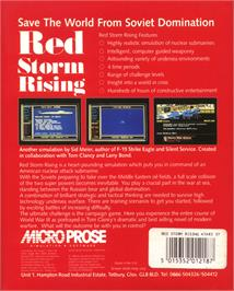 Box back cover for Red Storm Rising on the Atari ST.