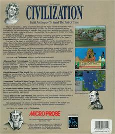 Box back cover for Sid Meier's Civilization on the Atari ST.