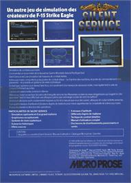 Box back cover for Silent Service on the Atari ST.
