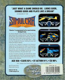 Box back cover for Simulcra on the Atari ST.