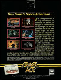 Box back cover for Space Ace on the Atari ST.