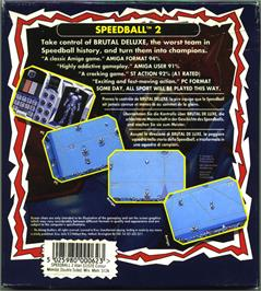 Box back cover for Speedball 2: Brutal Deluxe on the Atari ST.