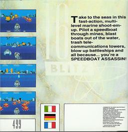 Box back cover for Speedboat Assassins on the Atari ST.