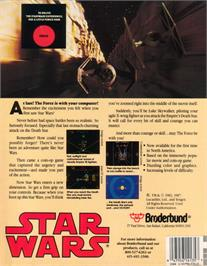 Box back cover for Star Wars: The Empire Strikes Back on the Atari ST.