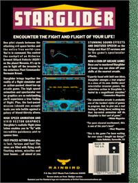 Box back cover for Starglider on the Atari ST.
