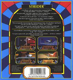 Box back cover for Strider on the Atari ST.