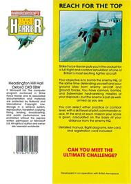 Box back cover for Strike Force Harrier on the Atari ST.