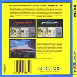 Box back cover for Test Drive on the Atari ST.