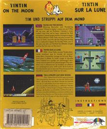 Box back cover for Tintin on the Moon on the Atari ST.