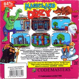 Box back cover for Treasure Island Dizzy on the Atari ST.