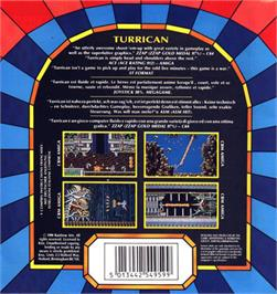 Box back cover for Turrican on the Atari ST.