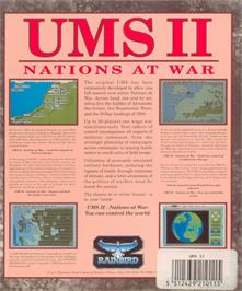 Box back cover for UMS II: Nations at War on the Atari ST.