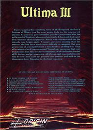 Box back cover for Ultima III: Exodus on the Atari ST.