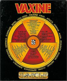 Box back cover for Vaxine on the Atari ST.