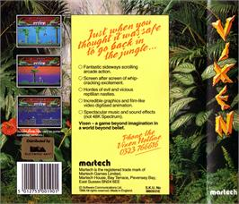 Box back cover for Vixen on the Atari ST.