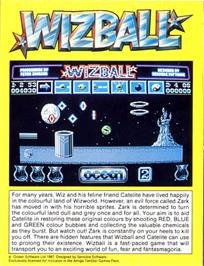 Box back cover for Wizball on the Atari ST.