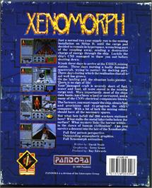 Box back cover for Xenomorph on the Atari ST.