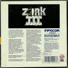 Box back cover for Zork III: The Dungeon Master on the Atari ST.