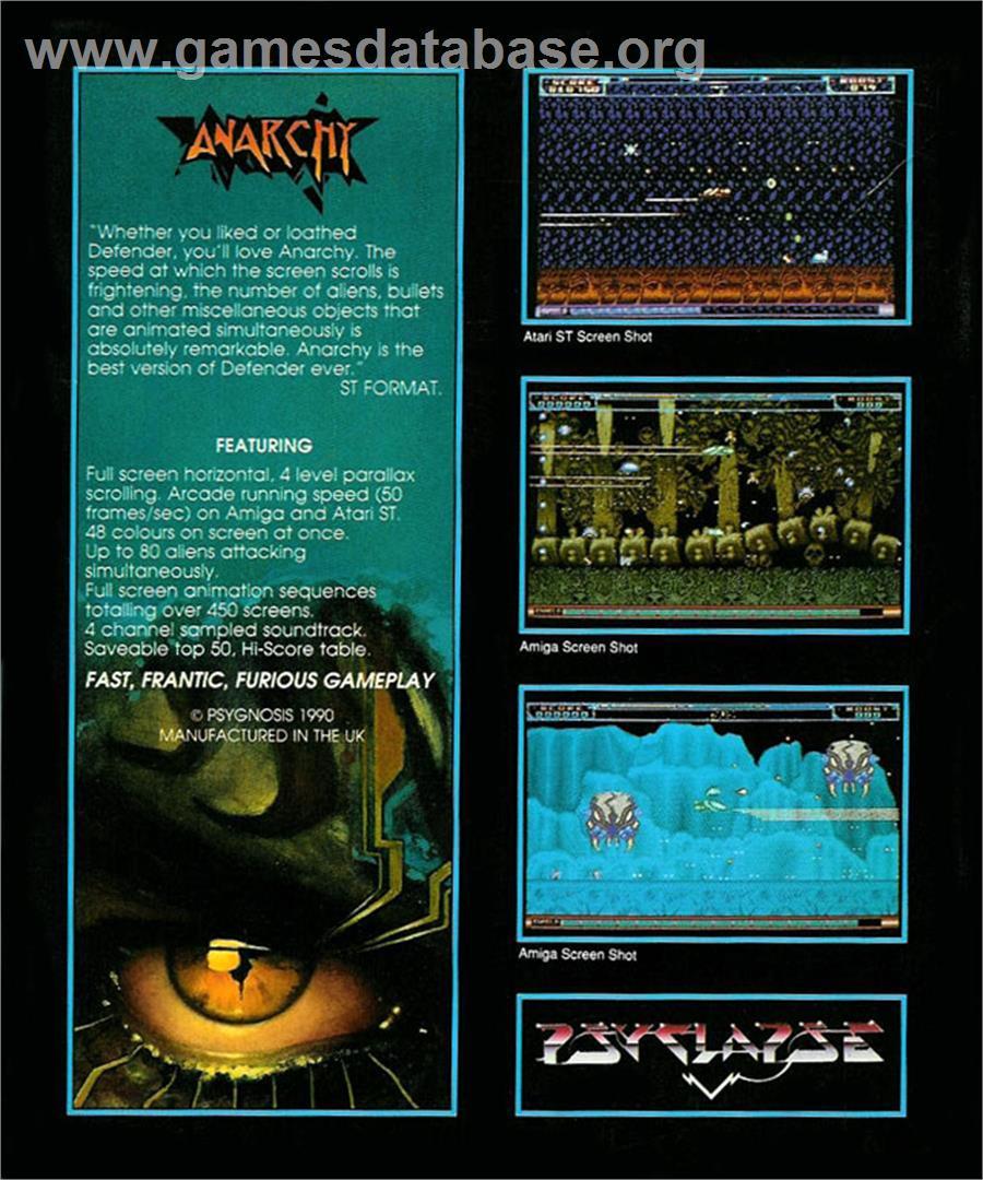 Anarchy - Atari ST - Artwork - Box Back