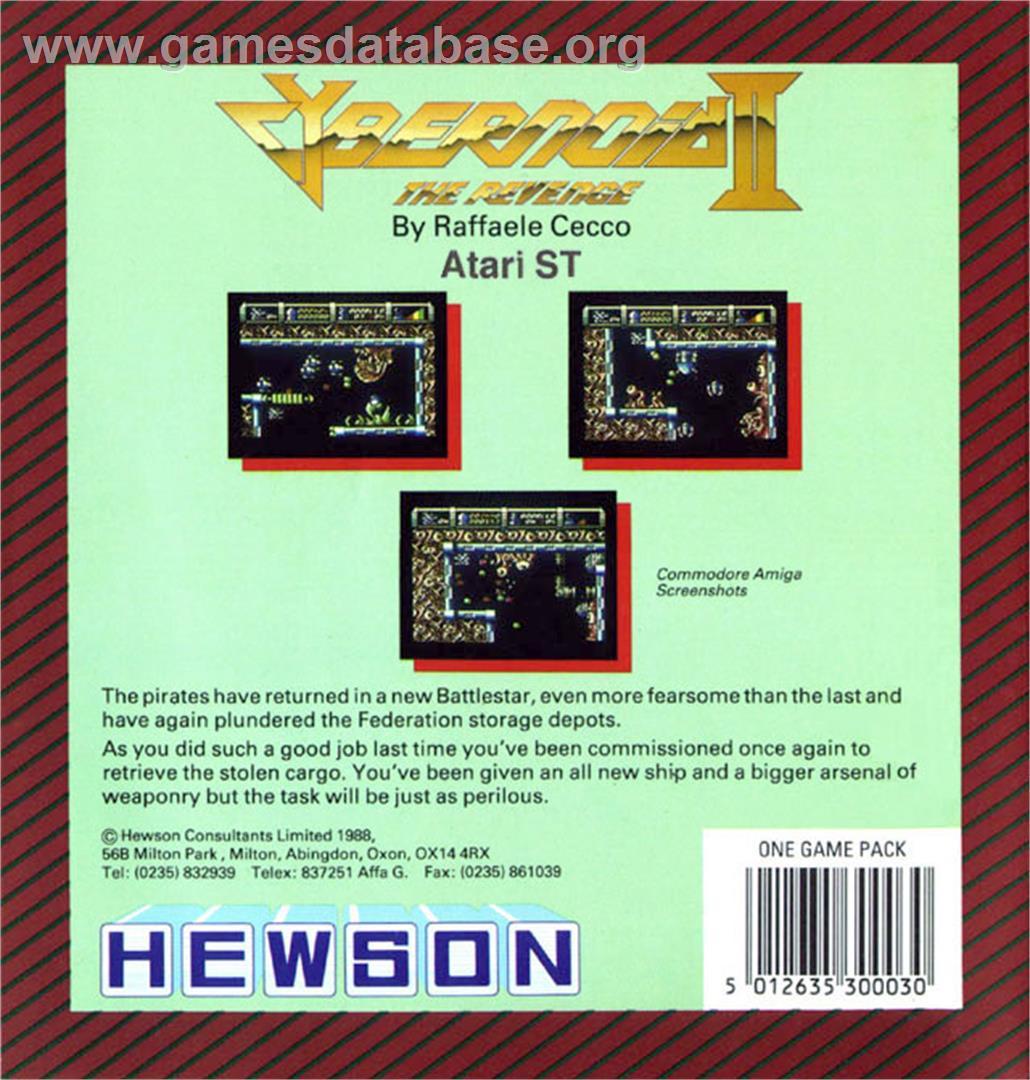 Box back cover for Cybernoid 2: The Revenge on the Atari ST.