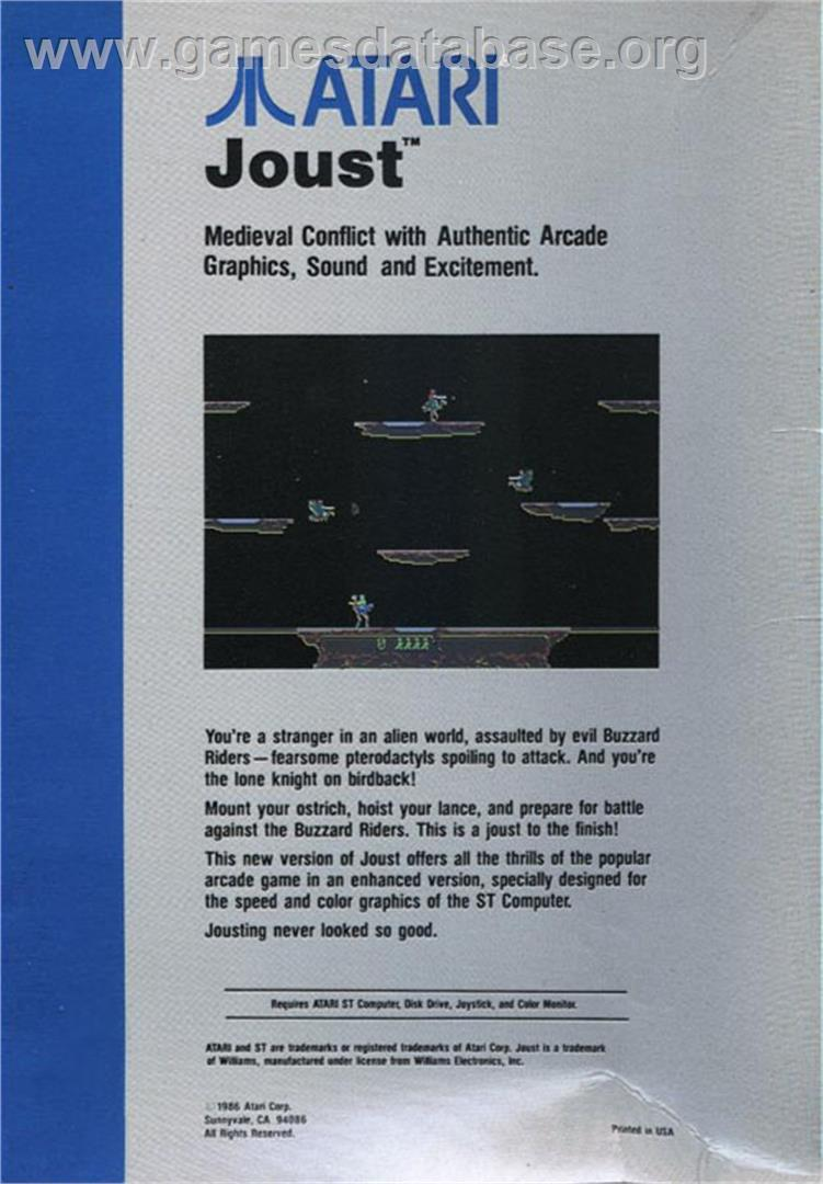 Joust - Atari ST - Artwork - Box Back