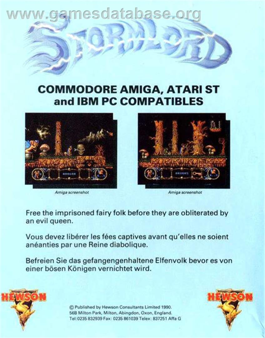 Box back cover for Stormlord on the Atari ST.