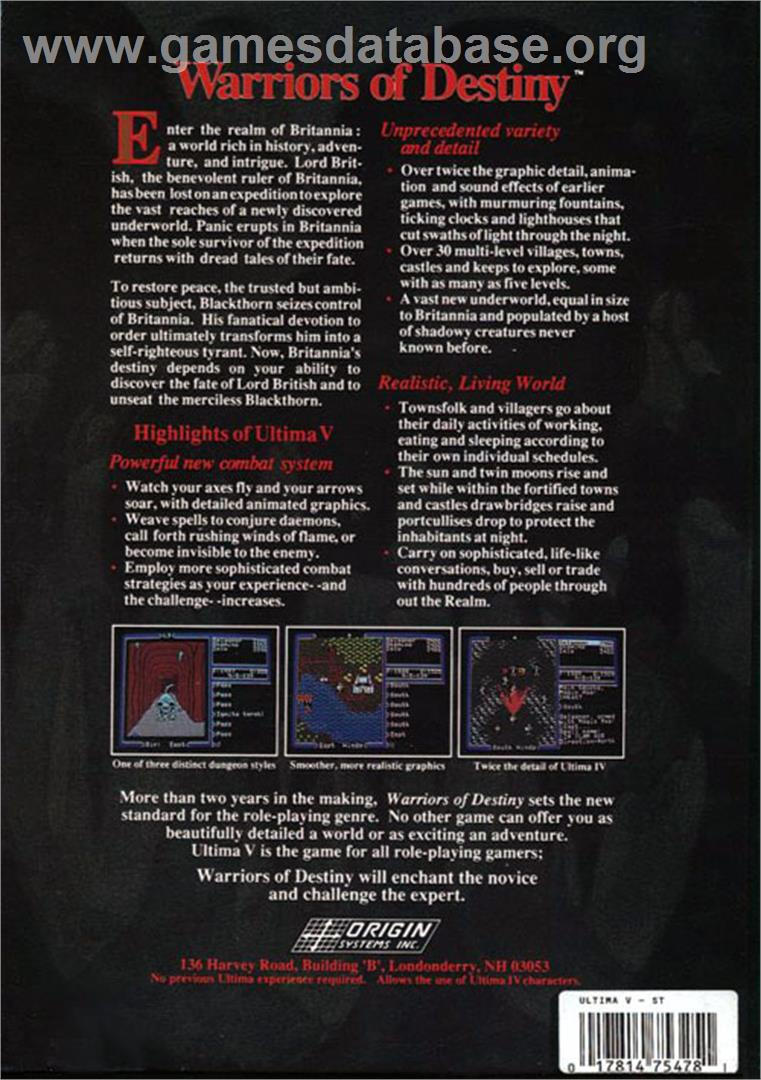 Box back cover for Ultima V: Warriors of Destiny on the Atari ST.